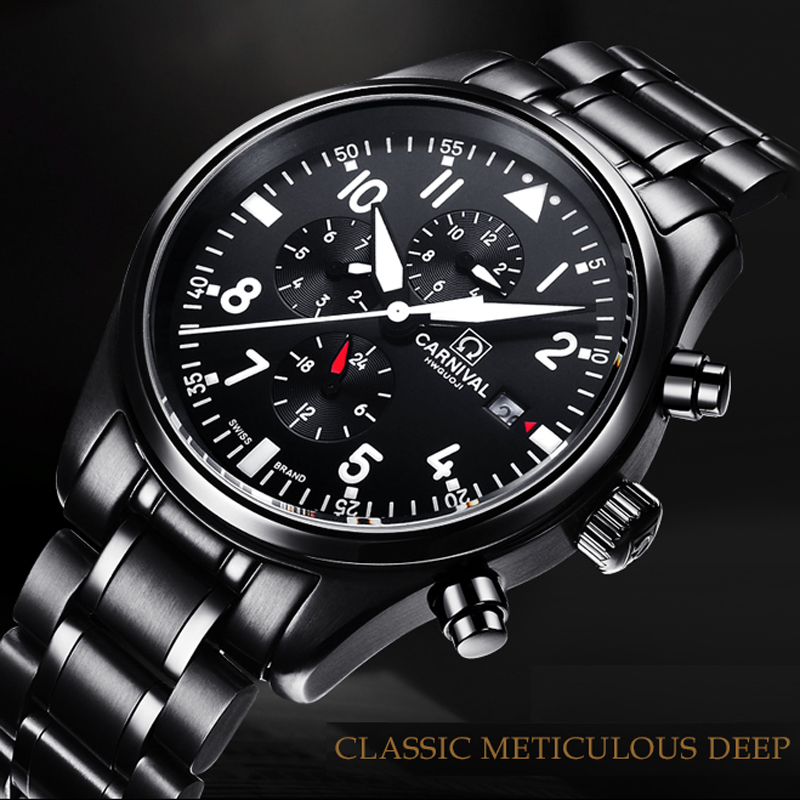 Карнавальные швейцарские часы мужские Многофункциональные Авто часы люксовый бренд relogio masculino водонепроницаемые мужские наручные часы C8592-2
