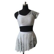 Venta al por menor Al Por Mayor Brillante Lycra Camisola Top Cortos con Superposición de Encaje Faldas Superiores de Rendimiento Dancewear Trajes de la Danza Lírica