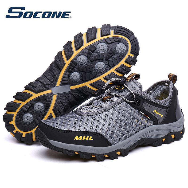 SOCONE Outdoor Sport Shoes Men Breathable Hiking Shoes Sneakers Trekking Mountain Climbing Travel Walking Anti skid