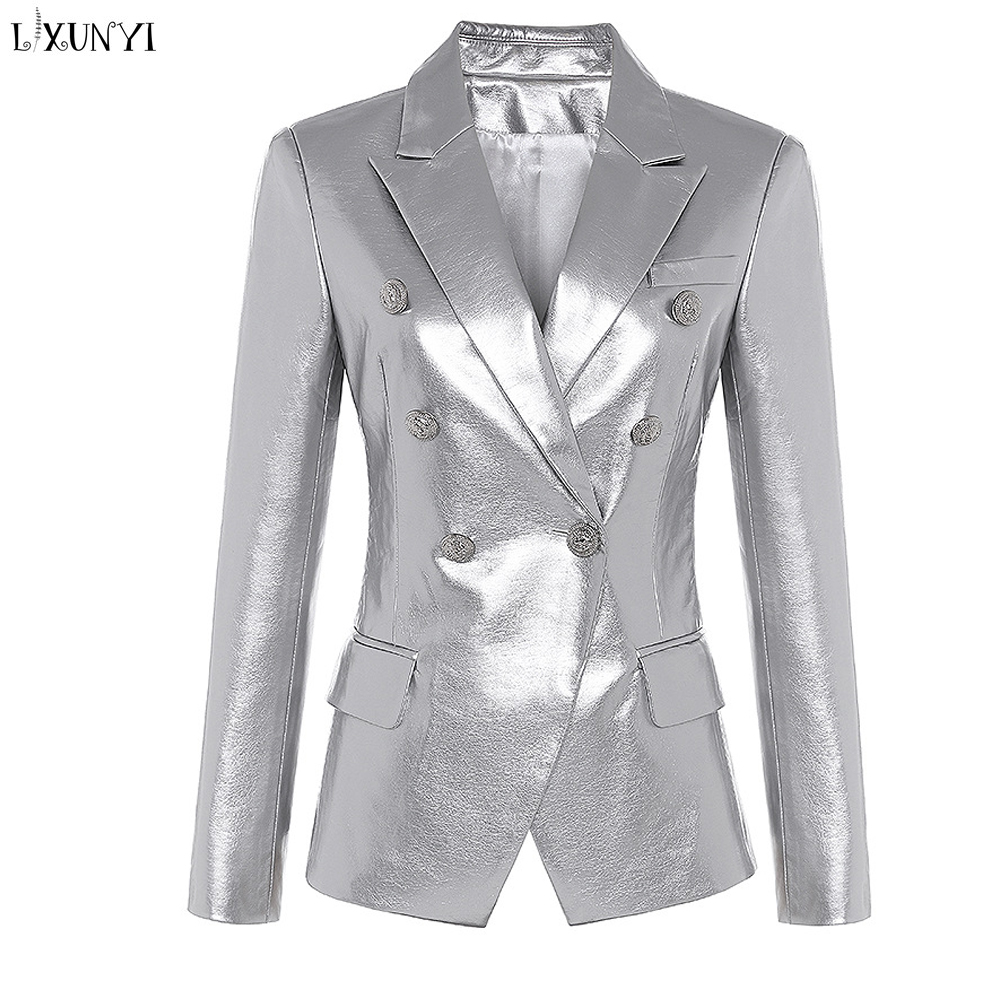 LXUNYI Spring Autumn Women Pu   Leather   Blazer Fashion Golden Button Double Breasted Faux   Leather   Jackets and Coats