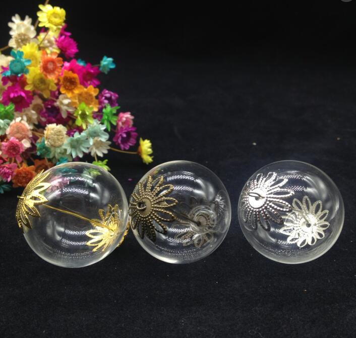 цена на 100sets 30mm double hole glass globe ball flower cap set glass vial pendant glass wish bottle dome necklace diy pendant jewelry