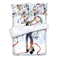 Japanese Anime Snow Miku Luxury Otaku Bedding Linen Set Bed Sheet or Duvet Cover with Two Pillow cases
