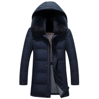 2017 Men Thick Warm Hooded Cotton Jacketr Long Outwear Windproof Parka Male Winter Coat
