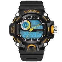 2016 Date G Style Quartz LED Montre Numérique Hommes Dual Time homme Montre de Sport Des Hommes De Luxe Smael S Choc Militaire Armée Reloj Hombre