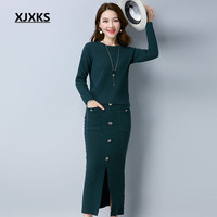 XJXKS Contains Wool Two Pieces Sweater Set Comfortable Warm Solid Button Pockets Decoration Autumn And Winter Sets 9974