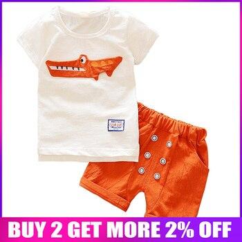 BibiCola Babies Clothing Set Newborn Boys white cartoon Shirt+Shorts Suit for bebe Boys sports suit kids Summer clothes outfits conjuntos casuales para niñas