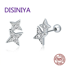 DISINIYA  Silver 100% 925 Bright Meteor-shining Glass Fragments Earrings Fashion Female Jewelry
