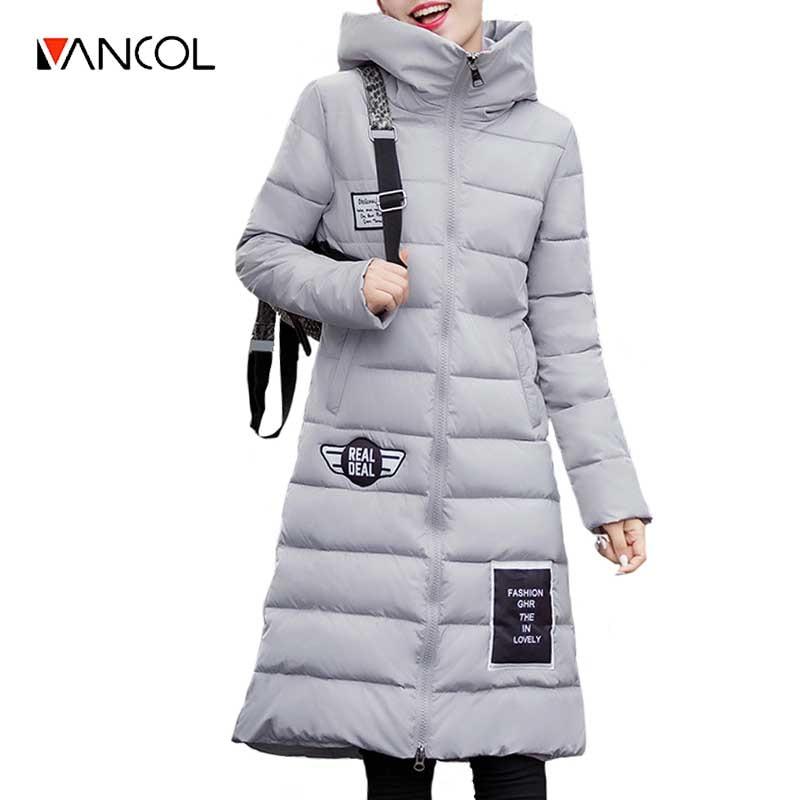 Vancol 2017 Map Women's Winter Jacket Thick X Long Slim Padded Hooded Coat Female Jaqueta Feminina Winter Jacket Women