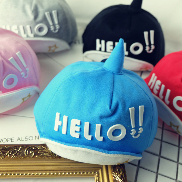 c9b52cb78f0 2017 Baby Hat Cotton Boy Girl Letter Hello Printed Caps Kids Baseball Cap  Baby Boys Sun