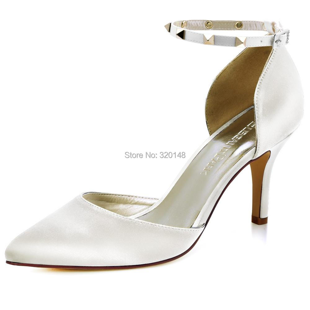 HC1811 Woman Shoes Wedding Bridal High Heel Black Ankle Strap Pointed Toe Rivets Satin Lady Bride Prom Party Pumps Navy Ivory shoes woman ivory white wedding bridal high heel pumps rhinestone closed toe satin lady bride party boots winter autumn hc1524
