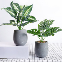 Artificial Flowers Bouquet Green Potted Desktop Fake Plants Home Decoration with Vase Set For Wedding Decoration DIY Wreath Gift