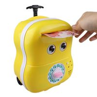 Creative Cartoon Luggage Piggy Bank Password Box Cute Face Bank Eyes Baby Automatic Roll Music Moving
