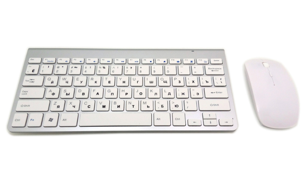 Image 2 - Russian Keyboard Ultra Thin Wireless Keyboard Mouse Combo 2.4G Wireless Mouse for Apple Keyboard Style Mac Win XP/7/8/10 Tv Box-in Computer Cleaners from Computer & Office