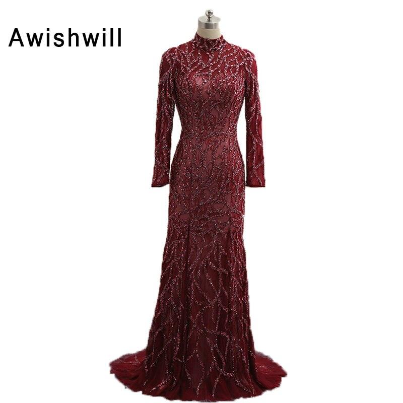 Robe de Noche Largo col haut dos ouvert perles à la main manches longues robe de soirée tapis rouge robes de soirée longues luxueuses
