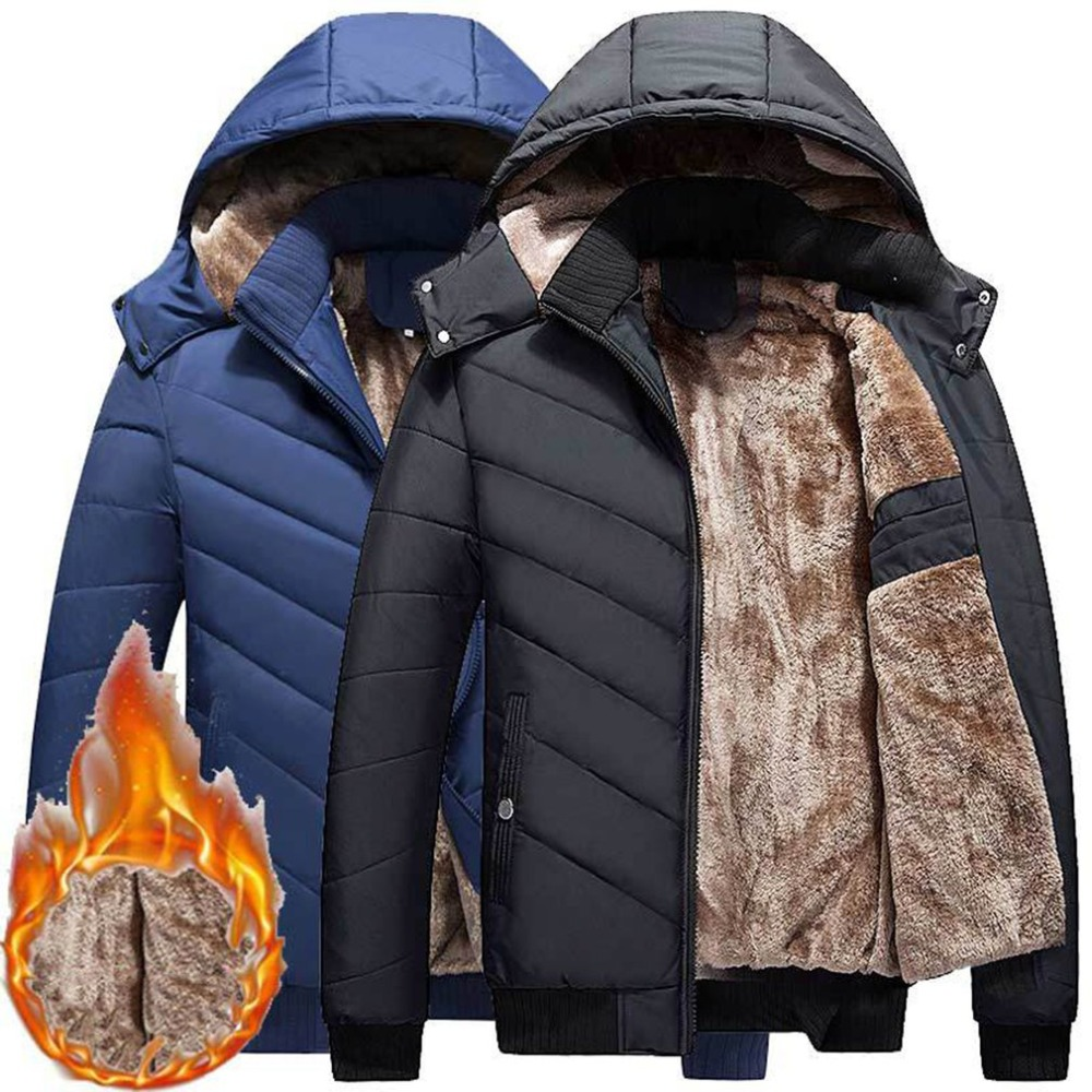 Winter Parkas Men 2018 Fashion Hooded Collar Male Parka Jacket Mens Solid Thick Plush Jackets And Coats Man Outwear Overcoat