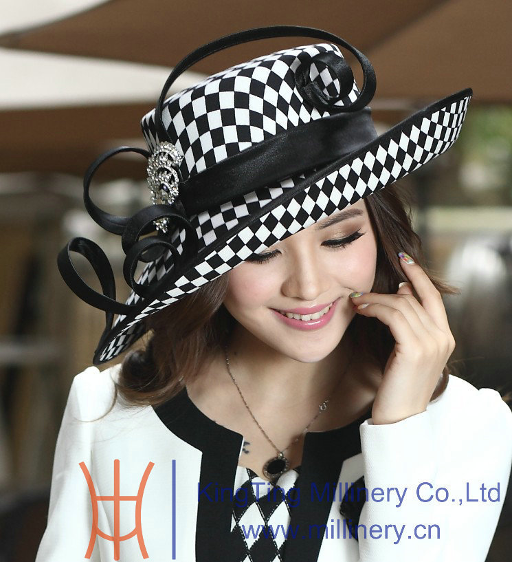 Free Shipping Fashion Winter New Arrival Ladies Satin Dress Hat Church Hat Formal Hat For Women
