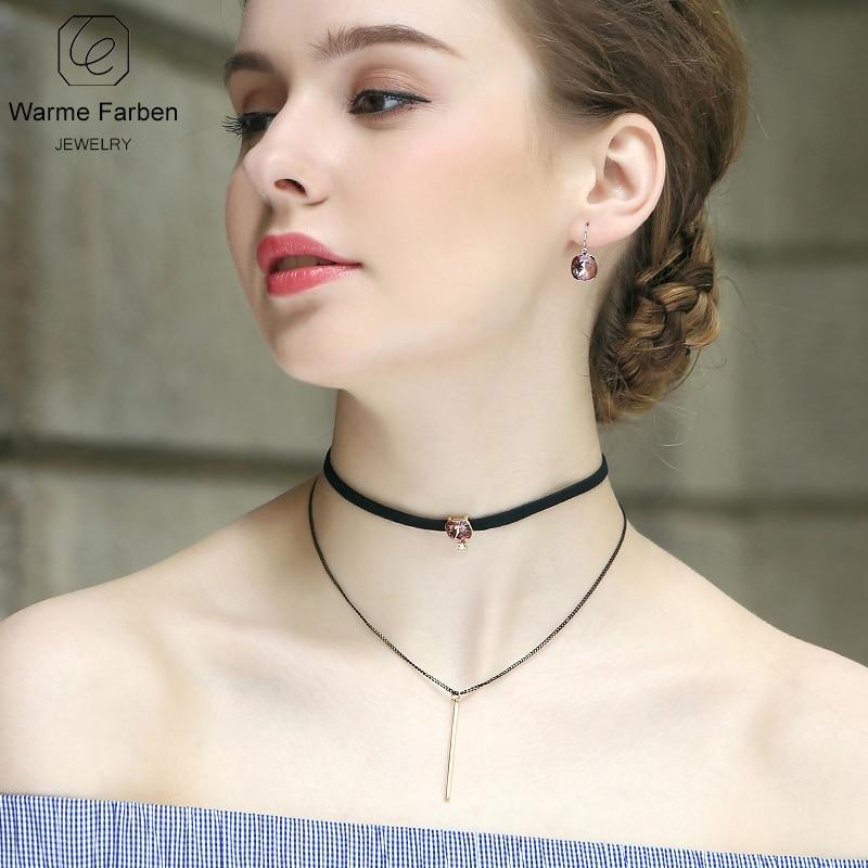 WARME FARBEN Crystal from Swarovski Women Choker Necklace Baroque Black  Lace Chain Tassel Water Drop Pendant ... 20c9802d8985
