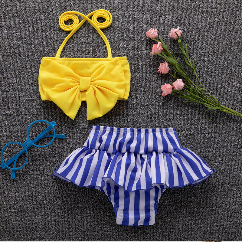 2019 New Newborn Kids Baby Girls Bow Tie Bikini Set  Striped Ruffle Swimwear Swimsuit Bathing Suit Beachwear Soft Halter