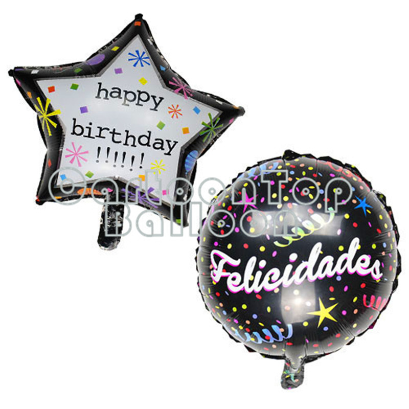20pcs/lot 18inch Five-pointed star Round Birthday Balloons Foil Helium Balloon H