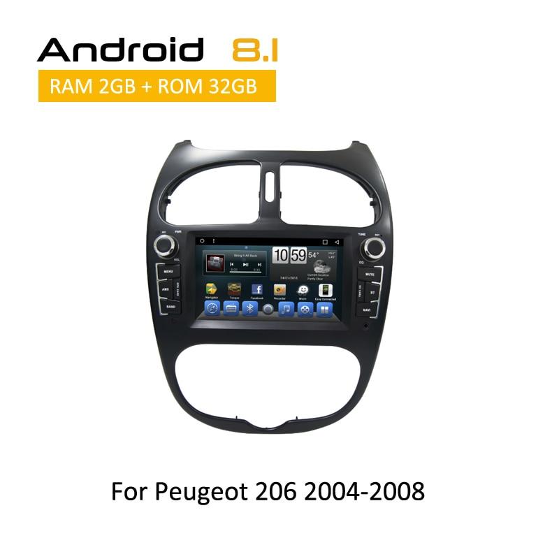 Android 8.1 Octa Core di navigazione gps dvd cd player per Peugeot 206 2000 2001 2002 2003 2004 2005 2006 2007 2008 car stereo 2 din