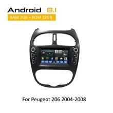 Lecteur cd pour Peugeot 206 2000 2001 2002 2003 2004 2005 2006 2007 2008 Android 8.1 Octa Core gps navigation dvd  stéréo 2 din