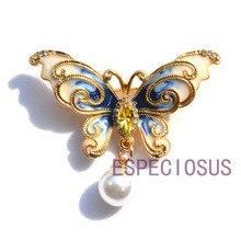 Элегантная булавка золотого цвета для женщин, подарок, Бабочка, нагрудная булавка, акриловые жемчужные аксессуары, Женские Ювелирные изделия, синяя окрашенная брошь, банковская отделка