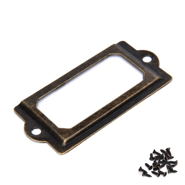 12pcs metal label pull frame handle file name card holder drawer box 12pcs metal label pull frame handle file name card holder drawer box case antique 70mmx33mm reheart Images