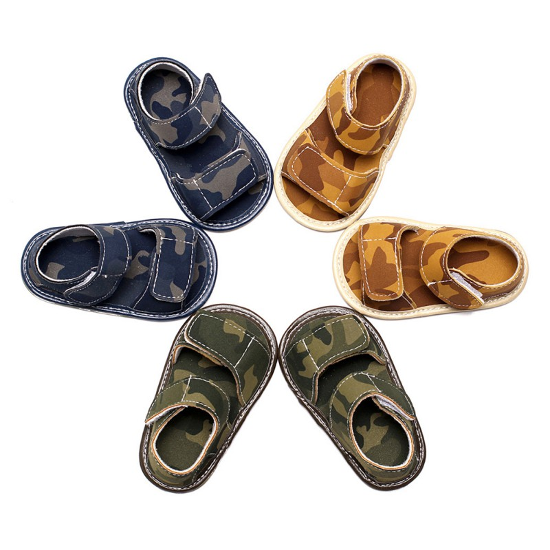 New Summer Children Shoes Print Camo Baby Boys Sandals Fashion Kids Shoes Casual Child Flat Pu+Cow Muscle Shoes