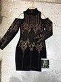 Оптовая 2017 Новый стиль платье Черный Длинные рукава мода роскошные Знаменитости мини знаменитости платье партии Коктеила (H1378)