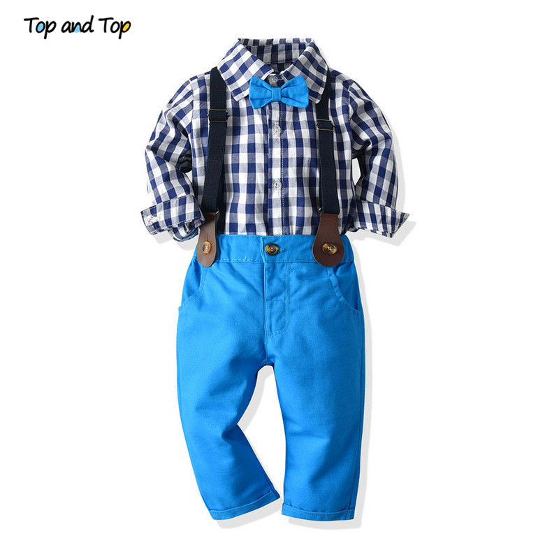 Top And Top Autumn Boy Gentleman Clothes Sets Long Sleeve Plaid Shirt Tops With Bowtie+Suspender Trousers Kids Casual Clothing