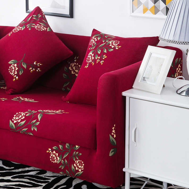 赤花ストレッチのカバーリビングルーム、マルチサイズの家の装飾弾性ソファソファカバー、抗スリップコーナーソファカバー
