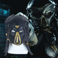 2018 New Movie The Predator Cosplay Mask Costume Helmet Props Antenna Latex Halloween Party Horror Face Head Mask with Long Hair