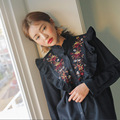 2017 Spring Retro Women Fashion Long Dress Vintage Duty Flower Embroidered Flouncing Dress