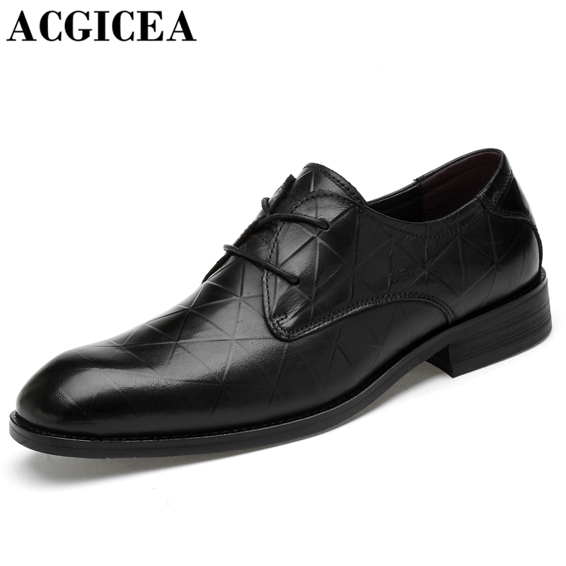 Brand Genuine Leather Men Dress Shoes Lace Up Breathable Casual Business Shoes  Fashion Gentleman Leather Shoes 2b010ec35c7c