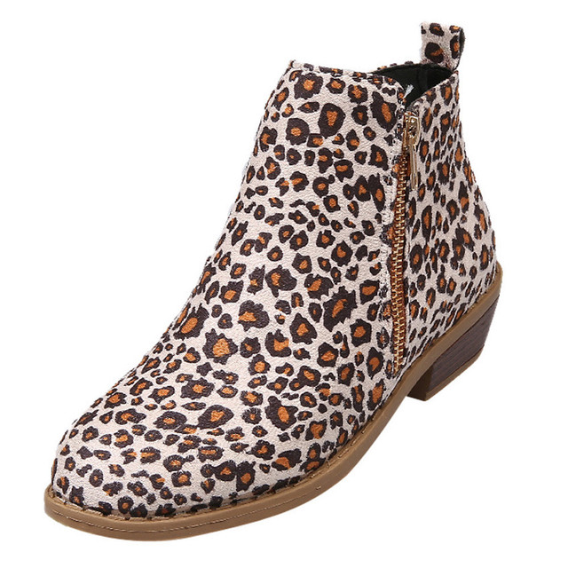 a6b684b075d8 Women Leopard Print Suede Short Boots Fashion Girls Ankle Short Booties  Shoes Warm Winter Boots Female Zipper Boot Bottes Femme