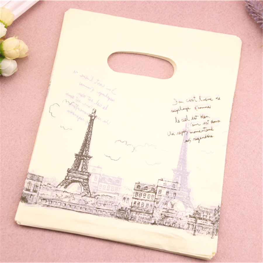 Wholesale 100pcs/lot 20*25cm Beige Eiffel Tower Shopping Plastic Bags Luxury Fashion Wedding Favors and Gifts Packaging