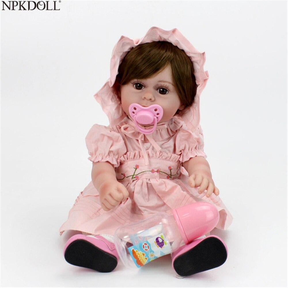 NPKDOLL 17 pouces 43 cm Silicone Reborn bébé poupées vivant Bebe Reborn Bonecas réaliste réaliste rose robe cadeau d'anniversaire