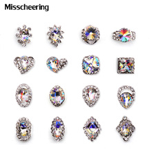 5pcs New 2016 Luxury Diamond Clear Rhinestone Alloy Nail Art Decorations Glitter Charm 3D Nail Jewelry Supplies