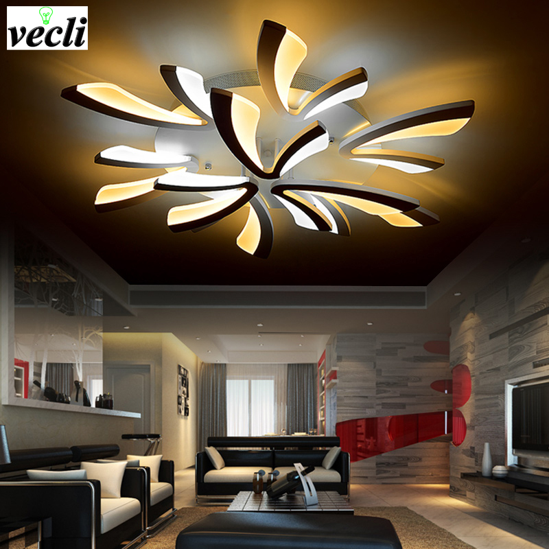 New Acrylic Modern led ceiling lights for living room bedroom led home Lighting dimming led ceiling lamp home lighting fixtures new modern led ceiling lights for living room bedroom plafon home lighting combination white and black home deco ceiling lamp
