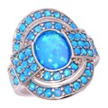 Blue  Fire Opal Silver Plated Ring Wholesale Retail Hot Sell Fashion Wedding Party for Women Jewelry Ring Size 7-12 OJ4861