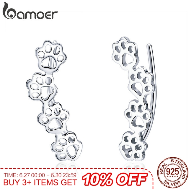 81bc7d6fe BAMOER Hot Sale 925 Sterling Silver Paw Trail Cat And Dog Footprints Stud  Earrings for Women Sterling Silver Jewelry SCE430