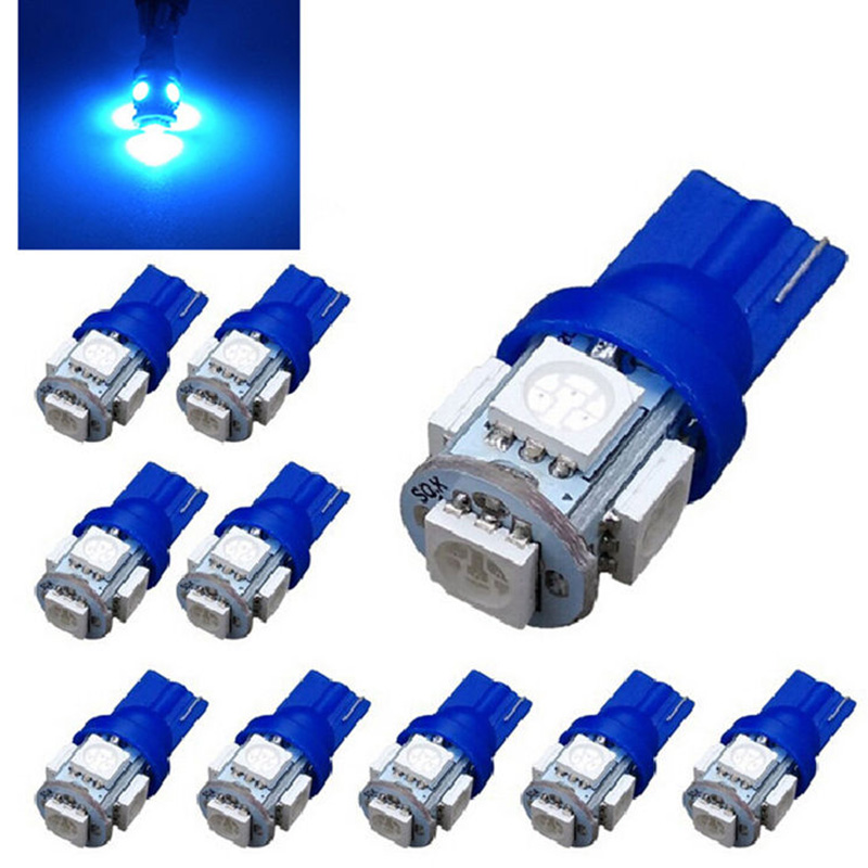 10pcs Car Interior Light T10 Wedge 5-SMD 5050 Xenon LED Light Bulbs 12V Blue Super Bright T10 LED Light Lamp Bulb