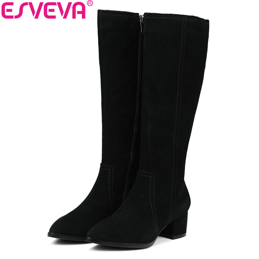 ESVEVA 2018 Women Boots Cow Suede+PU Pointed Toe Slim Look Over The Knee Boots Square High Heels Warm Fur for Boots Size 34-39