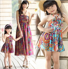 Retail 100% Cotton Flower Printed <font><b>Mother</b></font> and Girl Dresses for Summer 2015 New Mom and Daughter Dresses Floral Beach Dresses