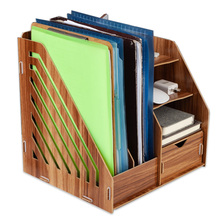 DIY Wooden Magazine Desk Organizers  Book Holder  Stationery  Storage Holder Stand Shelf Rack Multifunctional Case