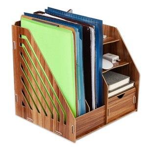 DIY drewniany magazyn biurko organizatorzy stojak na książkę magazyn materiałów piśmienniczych uchwyt stojąca półka Rack wielofunkcyjny futerał