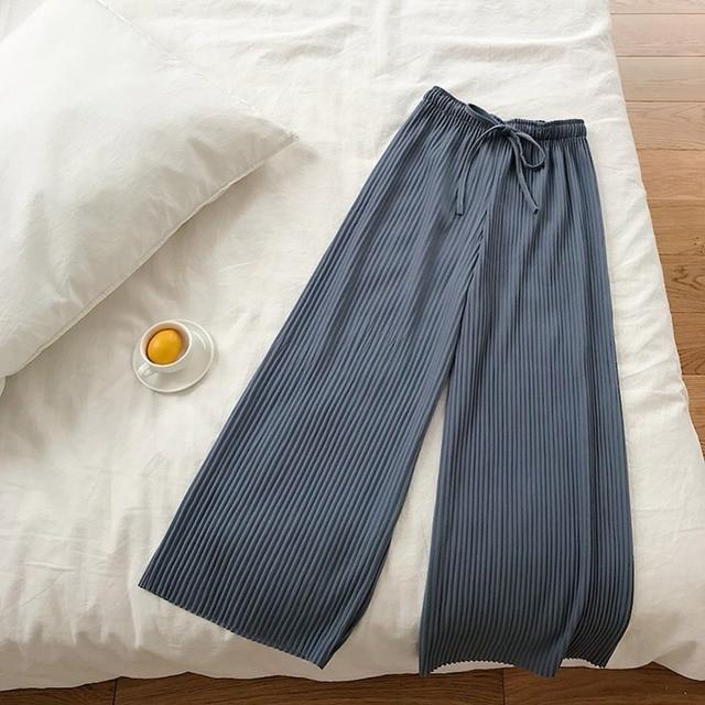 Fashion Loose Trousers Casual Drawstring Pants Women High Waist Wide Leg Pants