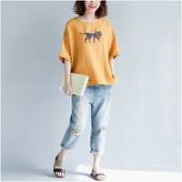 Plus Size Cartoon Cat Print T Shirt Women Cotton Korean casual Tshirts Summer Female Short Sleeve Tops Tee Loose T shirt 2019