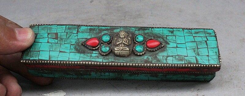"""6"""" Old Tibet Buddhism Turquoise Mahakala Elephant Phurba Dagger Holder With Box"""