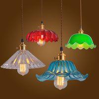 Glas Anhänger Licht Vintage Decke Lampe Multi Bunte Cystal Glas Cafe Bar Club Kaffee Shop-in Pendelleuchten aus Licht & Beleuchtung bei